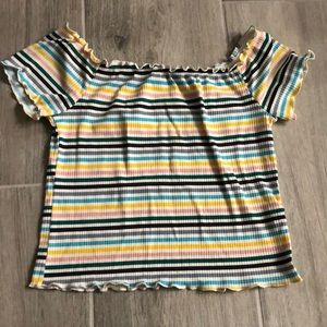 Colorful striped off the shoulder crop top